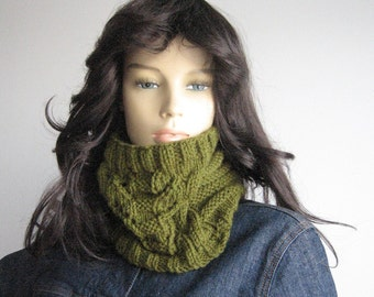 Olive Green Cowl Lace and Cables Green Neckwarmer Hand Knit Cowl