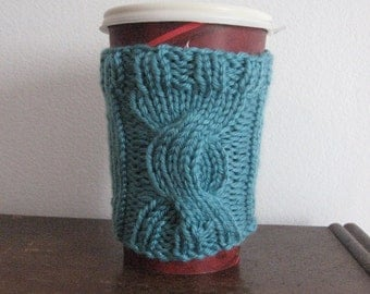 Knit Cup Cozy, Aqua Country Lane Cable Knit Coffee Cup Cozy, Knit Coffee Sleeve, Aqua Coffee Cozy