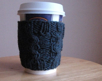Teal Heather Raised Curve Cable Knit Coffee Cup Cozy, Knit Coffee Sleeve, Teal Coffee Cozy, Knit Coffee Cozy, Knit Mug Cozy