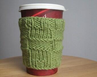 Fern Green Big Squares Knit Coffee Cup Cozy, Knit Coffee Sleeve, Knit Mug Cozy, Coffee Cozy, Travel Mug Cozy, Mason Jar Cozy