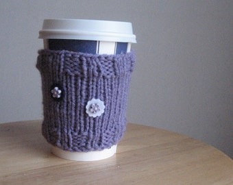 Lavender Purple and White Flowered Knit Coffee Cup Cozy Lilac Coffee Cup Sleeve Knit Cup Cozy