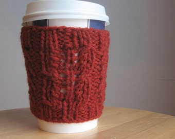 Redwood Heather Twist and Eyelet Knit Coffee Cup Cozy Knit Cup Cozy