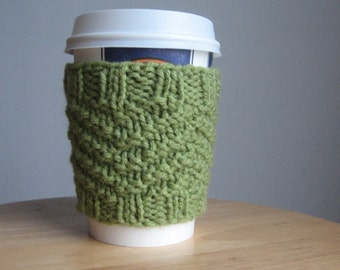 Fern Green Purl/Knit Coffee Cup Cozy