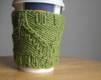 Fern Green Diagonal Twist Knit Coffee Cup Cozy, Vegan Cozy, Coffee Cozy, Cozies Mug, Mason Jar Cozy, Coffee Sleeve