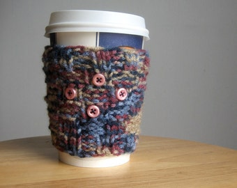 Steel Blue Multicolour and Pink Buttons Knit Coffee Cup Cozy, Coffee Cozy, Eco Friendly Cozy, Vegan Knits Blue Coffee Cup Sleeve