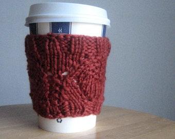 Rust Leaf Knit Coffee Cup Cozy, Vegan Cozy, Knit Cup Cozy, Mason Jar Cozy, Vegan Knits