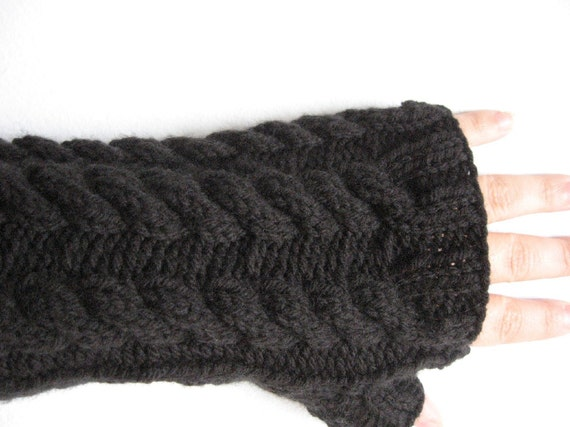Black Fingerless Mitts with Cables