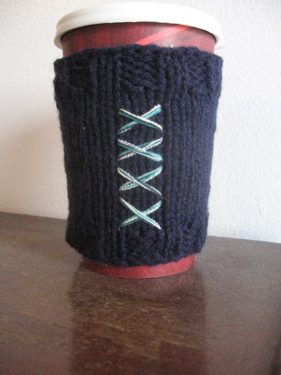 Navy Corset Vegan Coffee Cup Cozy