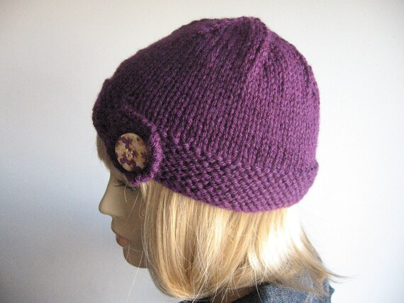Eggplant  Button Tab Vegan Beanie