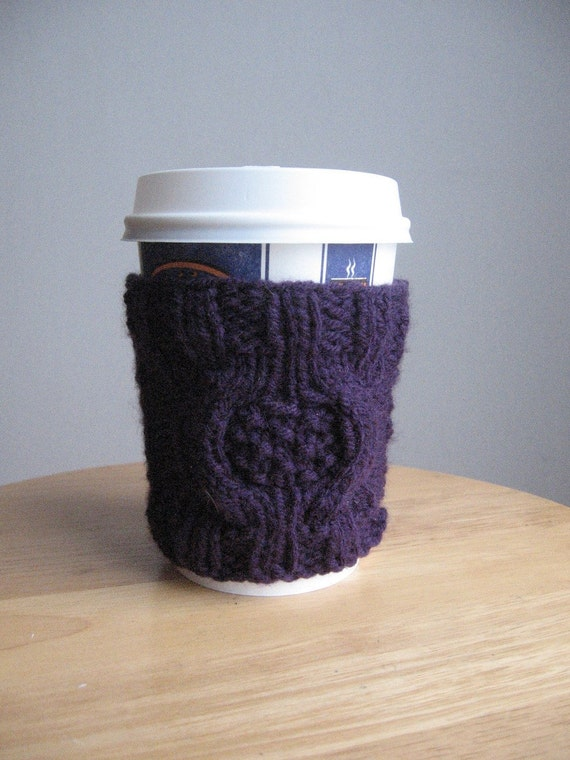 Purple Medallion Moss Cable Coffee Cup Cozy