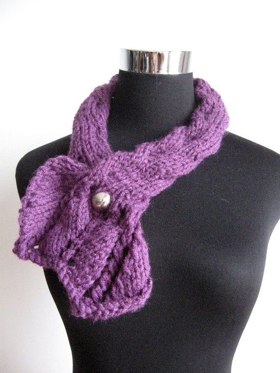 Purple with Silver Button Knit Scarflette Vegan Knits Fall Fashion Womens Accessories Knit Ascot