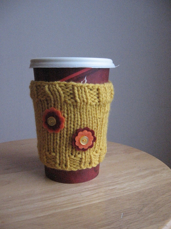 Sunflower Yellow with Flowers Coffee Cup Cozy