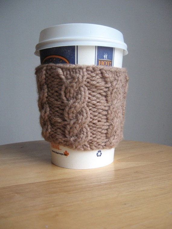 Soft Taupe Cabled Coffee Cup Cozy
