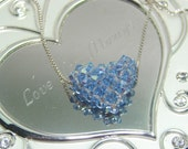 Frozen Inspired necklace Ice Blue puffy heart pendant of swarovski crystals  on silver chain