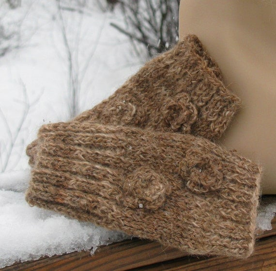 Brown Wool-Mohair Knit Texting Gloves-FREE SHIPPING