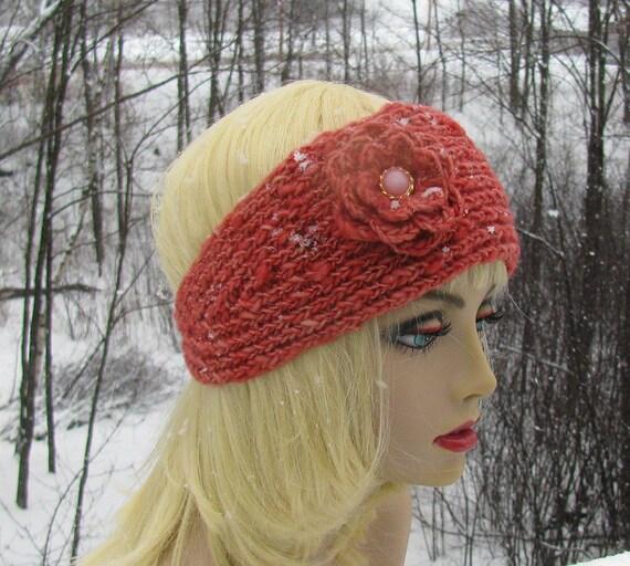 Salmon Handspun Wool Knit Headband Hat With Accent Flower, Burnt Orange Ski Hat, Ski Hat With Flower, Ladies Ski Band, Handspun Wool Hat