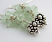 Earrings with Pale Green Crystal and Sterling Silver Bali Bead BE-159