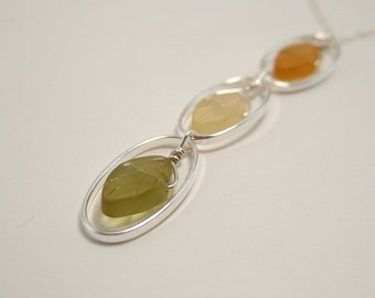 Frosted Glass Leaves in Sterling Silver Ovals Necklace CDN-263