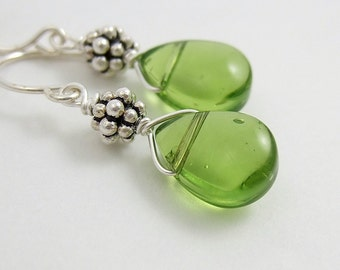 Earrings with Green Glass Teardrops and Bali Beads HE-135