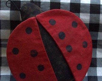 Lady Bug Bowl Filler Tuck Ornie Primitive