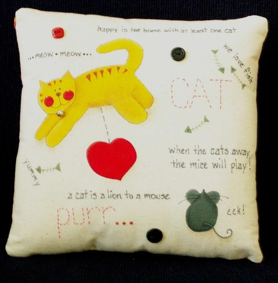 CAT PILLOW - Decorative - Hand Painted