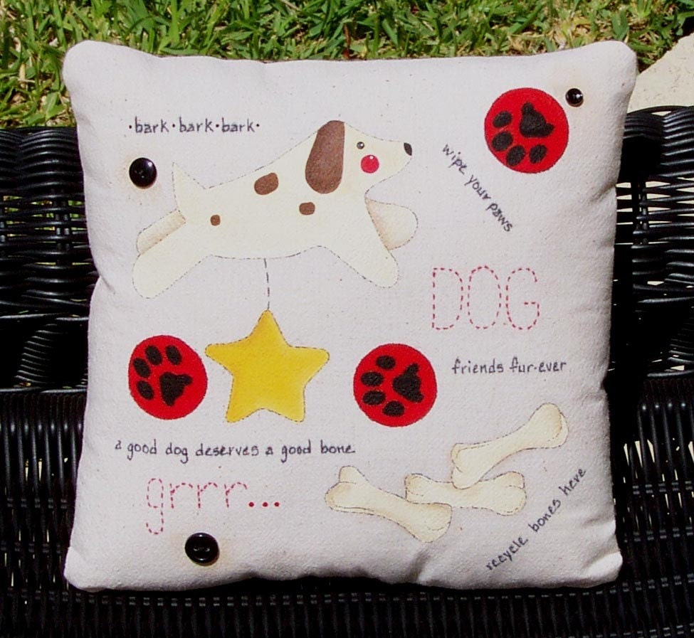 Dog pillow decorative hand painted for Hand painted pillows