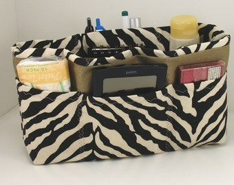 Purse Organizer Insert with Enclosed Bottom- Black Zebra - Medium Pictured - Five sizes available with lining color choice