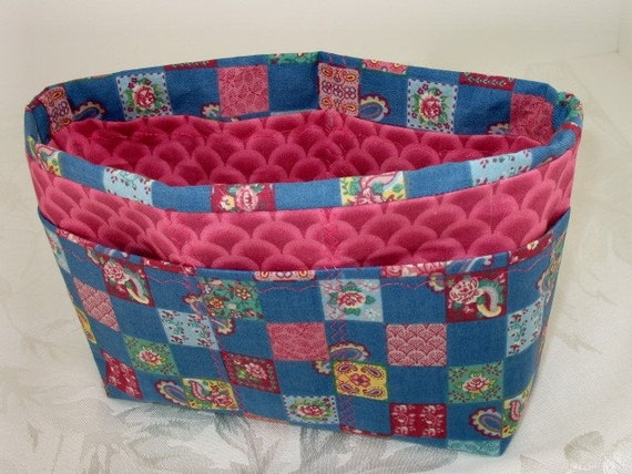 CLEARANCE - Purse Organizer Insert -Country print Blue and Pink -Small -Great for a small bag
