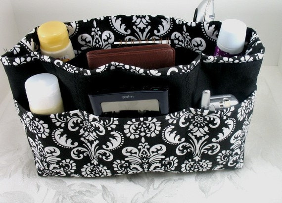 Purse Organizer Insert - Black and White Damask- Extra Large- Check out my shop for other sizes and fabrics