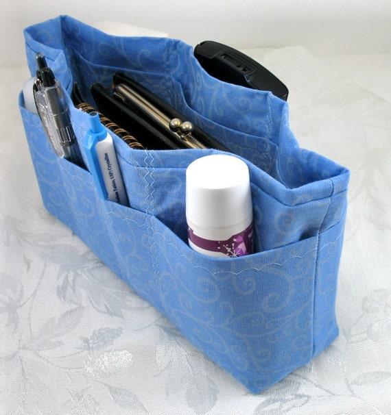 Purse Organizer Insert Enclosed Bottom-READY TO SHIP - Blue Swirl - Medium -