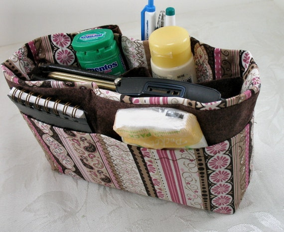 Purse Organizer Insert -Pink and Brown Stripe-Ready to Ship - Size  Small -Great for a small bag
