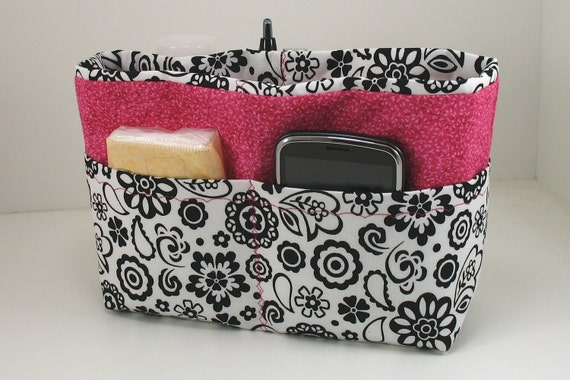 Purse Organizer Insert -Black  White and Hot Pink-Last of this fabric - Size  Small -Great for a small bag