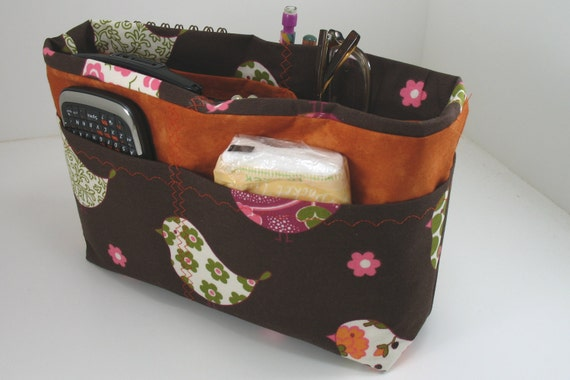 Purse Organizer Insert -Flight of Fancy- Brown Orange and Pink -Small pictured -5 sizes available