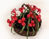 Mother's Day Love - Romantic Origami Heart Red Flower Wicker Basket Original Art b y Paper Disciple