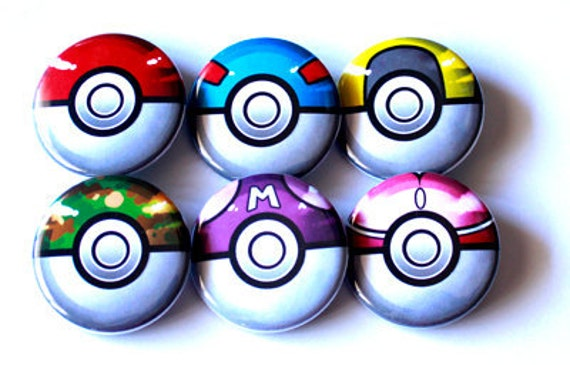"""Pick your own - Set of 6 1-1/4"""" Pokeball Buttons"""