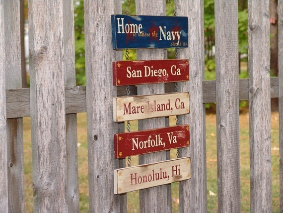 4 Duty Stations- Home Is Where the Military Sends Us - Hand Painted - Custom Sign