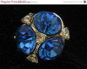 ON SALE Vintage Sapphire Blue & Rhinestone Cluster Cocktail Ring