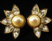 Reserved for V Do Not Buy Vintage Swarovski Large Rhinestone & Pearl Earrings