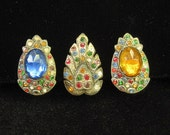 Reserved for Daisy do not buy 3 Vintage Art Deco Rhinestone Dress Clips 1940s