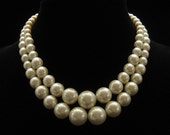 Vintage Chunky 2 Strand Glass Pearl Necklace 1960s