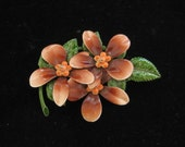 Enamel Dogwood Flower Pin Vintage Large Wedding 1960s