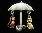 Vintage Raining Cats and Dogs With Umbrella Pin