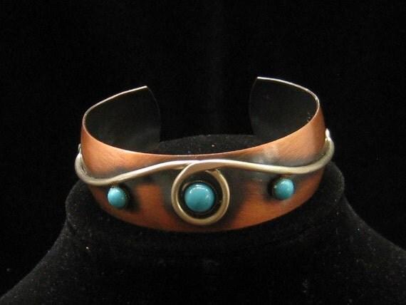 Native American Genuine Copper Turquoise Cuff Bracelet