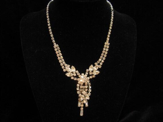 Vintage Rhinestone Dangling Floral Wedding Necklace 1960s