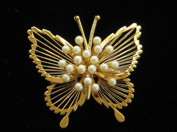 Vintage Monet Butterfly Pin With Pearls 1960s