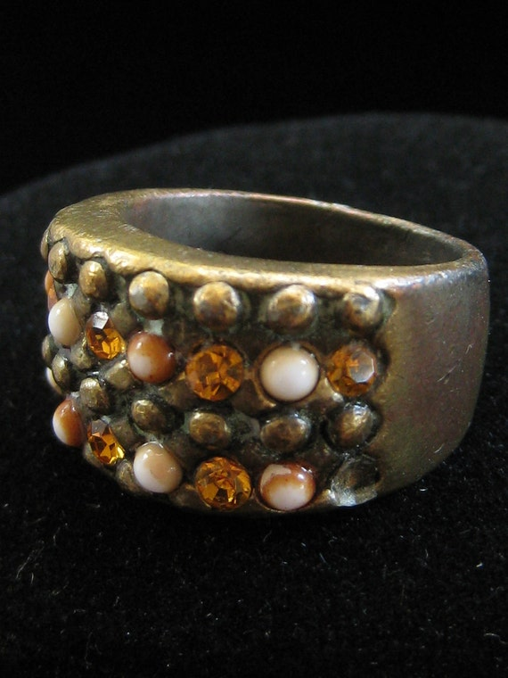 Vintage Heavy Amber Rhinestone White Bead Cocktail Ring