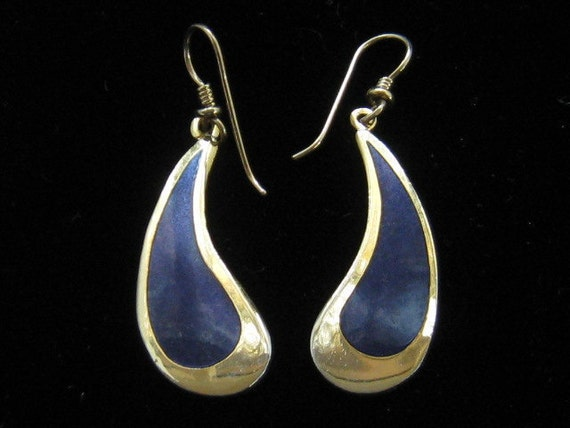 Vintage Laurel Burch Tear Drop Dark Blue Enamel Earrings