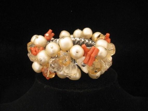 Vintage Chunky Bracelet Coral Pearls Beads Dangling 1950s Japan