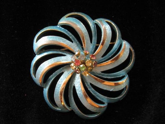 Vintage Blue Enamel Rhinestone Flower Pin 1960s