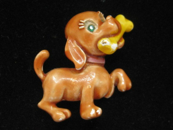 Vintage JJ Dog Pin Brown Enamel Bone 1980s
